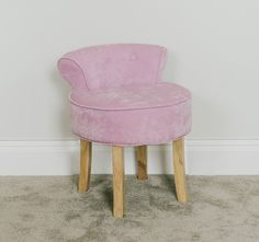 Vanity Stool in Pink With Natural Legs Dressing Table Chair Seat Chenille for sale Dressing Table With Chair, Dressing Stool, Cheap Dining Room Chairs, Outdoor Dining Chair Cushions, Herman Miller Aeron Chair, Vanity Stool, Bedroom Chair, Contemporary Style, Sweet Home