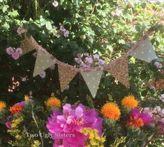 Mother's Day Gift Pink & Green Floral Polka Dot Tea Party Bunting Flag Banner Birthday Decor Garland Country Decor Two Ugly Sisters Fairy Tea Parties, Tea Party, Polka Dot Fabric, Floral Fabric, Party Bunting, Bunting Ideas, Country Decor, Country Lounge, Birthday Decorations