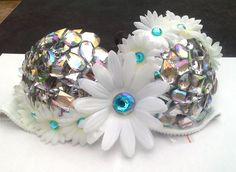 Blingy Bra with White Daisies with Turquoise Rhinestone Centers