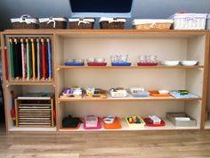 Montessori Classroom - Practical Life Shelf (I love how the dressing frames are stored!)