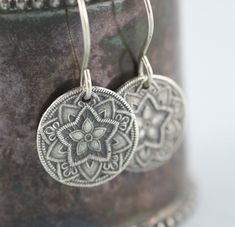 Mandala Star Pole Star Dangle Earrings Recycled Sterling Silver Handmade Lovely little earrings with fine detail of a 5 pointed star. Ive