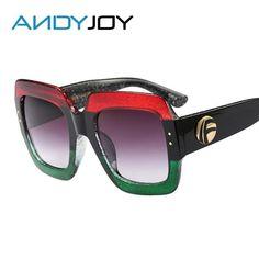 ANDYJOY Luxury Italy Brand Design Women Sunglasses Square Frame Female Oversized Sun Glasses Vintage Green Red Eyewear Oculos