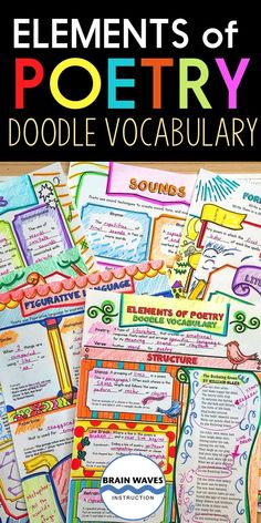 Elements of Poetry Vocabulary Doodle Vocabulary for Poetry Vocab Teaching Resources, School Resources, Classroom Resources, New Vocabulary Words, Poetry Unit, Teaching Profession, Middle School Writing, Social Studies Classroom, New Teachers