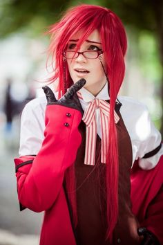 Black Butler Kuroshitsuji Grell Sutcliff Red Suit Cosplay Costume
