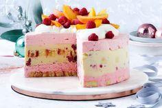 Raspberry trifle ice-cream cake Ice Cream Desserts, No Cook Desserts, Frozen Desserts, Ice Cream Recipes, Delicious Desserts, Cold Desserts, 100 Calories, Dessert Weight Watchers, Raspberry Trifle