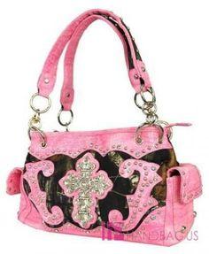 pink camo cross purses | NWT Pink Mossy Oak CAMO Rhinestone Cross BLING Camouflage POCKET Tote ...