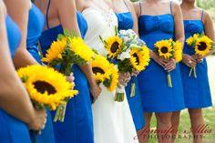 sunflower and blue wedding