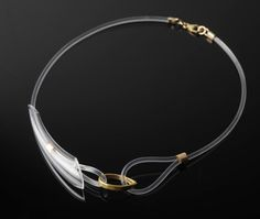 Flow necklace, glass, gold plated silver, silicon  Miri Admoni.  See too Art Smith's Modernist jewelry