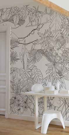 Ohmywall – Tropical Jungle Wallpaper in Black and White from Caddous & Alvarez artist duo widescreen format. 6 colors – 4 formats – 24 poss … - New Deko Sites Wall Drawing, Interior Decorating, Interior Design, Bedroom Wall, Wall Design, Wall Murals, Room Decor, Trendy Wallpaper, Large Print Wallpaper