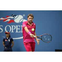 Stan Wawrinka shows his powerful down the line backhand during the semis.