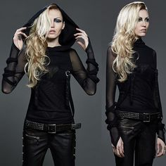 Sexy Women Black Spandex Long Sleeve Gothic Punk Rock Hoodie Top SKU-11409359