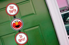 Welcome Door Sign Printable  Elmo Birthday by StickToYourStory, $6.50