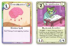 Adventure Time Card Wars Cerebral Bloodstorm and Dr. Stuffenstein Cards