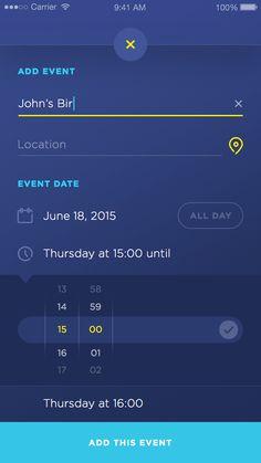 캘린더 ui 디자인이다. 상단에 이벤트 내용과 날짜를 설정하고 하단에 자세한 시간을 설정할 수 있다. 전체적인 칼라선택은 다소 칙칙하다는 생각이 들지만 구성이 깔끔한것 같다.