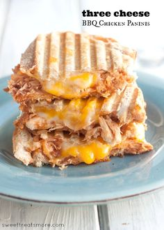 Three Cheese BBQ Chicken Paninis || Sweet Treats & More.  Perfect, quick and easy lunch or dinner! #recipe #sandwich