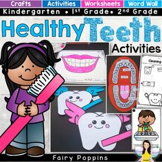 Dental activities for kids in preschool, kindergarten, first grade and second grade. Includes crafts, worksheets and sorting activities. Focuses on topics like brushing teeth, parts of a tooth and nutrition. Senior Activities, Health Activities, Sorting Activities, Hands On Activities, Easter Activities, Christmas Activities, Outdoor Activities, Space Activities, Animal Activities