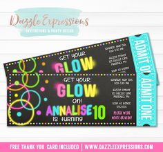 Printable Chalkboard Glow in the Dark Ticket Birthday Invitation | Neon | Blacklight | Digital File | Girls Birthday Party Idea | Disco Dance Party | Teen Party | Youth Event | FREE thank you card | Party Package Available | Banner | Cupcake Toppers | Favor Tag | Food and Drink Labels | Signs |  Candy Bar Wrapper | www.dazzleexpressions.com