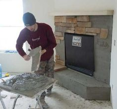Stone fireplace veneer DIY Scott would so want to that...