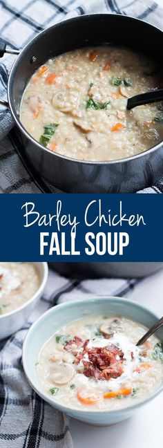 Homestyle creamy barley chicken fall soup, is the perfect comfort food, full of flavors and vegetables and hearty enough for dinner.