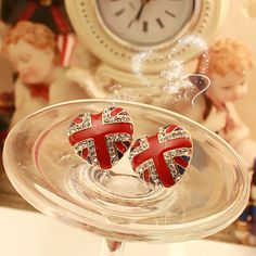 British flag earrings retro London