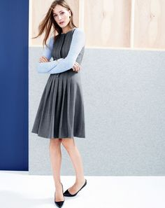 J.Crew women's pleated a-line dress in super 120s and Roxie glossy pumps.