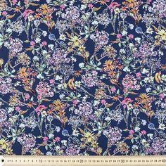 Scattered Floral Linen Cotton Multicoloured 132 cm