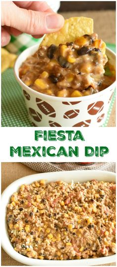 Fiesta Mexican Dip {Slow Cooker} - Mexican Fiesta Dip can either be made in the slow cooker or baked in the oven! Grab a couple cans of to make this dip! Mexican Dip Recipes, Mexican Dips, Spicy Appetizers, Easy Appetizer Recipes, Mexican Appetizers, Mexican Desserts, Dinner Recipes, All You Need Is, Tzatziki