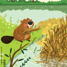 A busy beaver in Storytime Issue 30's Alphabet Zoo poem. Art by @tbudgen ~ STORYTIMEMAGAZINE.COM