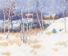 John Leslie Breck - Stand of Birch Trees in Winter,1895