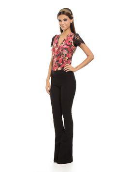 Body Renda Decote Estampa Floral Vermelho - roupas-blusas-iorane-f-body-renda-decote-estampa-floral-vermelho Iorane