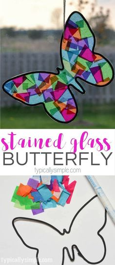 A fun spring craft to make with the kids! Using tissue paper and black construction paper, this butterfly looks like it's made from stained glass.