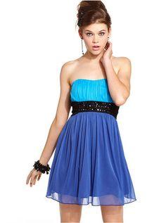 ShopStyle: Trixxi Juniors Dress, Strapless Colorblock Rhinestone Pleated A-Line