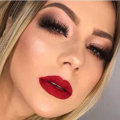 eye makeup simple in 2019 maquiagem noiva batom vermelho, maquiagem Cute Eye Makeup, Dramatic Eye Makeup, Red Lip Makeup, Dramatic Eyes, Makeup For Green Eyes, Glam Makeup, Simple Makeup, Skin Makeup, Makeup Inspo