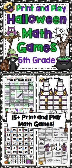 Halloween Math Games 5th Grade: Make math class something to look forward to this Halloween. This set of his set of 15+ no prep games, were designed to promote higher level thinking, be easy to play, and they are aligned to the Common Core Standards! $