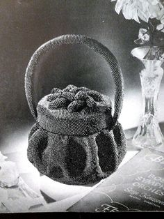 Beaded purse with crochet 1940's