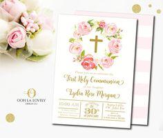 Invitación floral de la primera comunión o bautismo. Por la compra de esta lista, usted recibirá un archivo imprimible de alta calidad 5 x 7 que se puede imprimir en cualquier lugar! Usted puede elegir archivos JPEG o PDF. Por favor consulte a continuación información sobre invitaciones