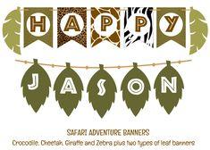 Safari Adventure Birthday Banner, Wild Animal Skin Banner, Jungle Leaf Banner, Jungle Animals, INSTANT DOWNLOAD--Edit with Adobe Reader, DIY by SpicedAppleParties on Etsy https://www.etsy.com/listing/268241902/safari-adventure-birthday-banner-wild