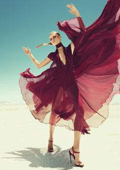 ♂ Fashion editorials photography woman with burgundy flowing gown
