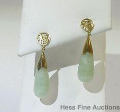 Vintage Genuine Jade 14K Gold Teardrop Dangle Happiness Dangle Earrings