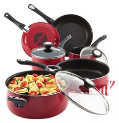 Farberware - New Traditions 12-Piece Cookware Set - Red
