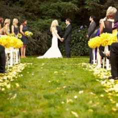 yellow + backyard ceremony