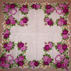 Purple roses hankie