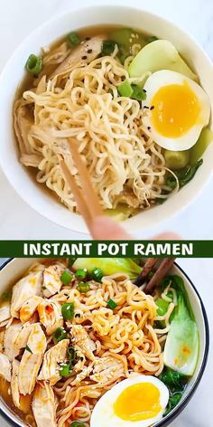 This Instant Pot Ramen is delicious with tender chicken gooey ramen eggs and vegetables in a hearty chicken soup. Spice up the ramen noodles with chili oil for an extra kick. This is comfort food in a jiffy and takes only 15 mins in the pressure cooker. Ramen Recipes, Asian Recipes, Chicken Recipes, Cooking Recipes, Healthy Recipes, Quick Recipes, Summer Recipes, Keto Recipes, Recipies