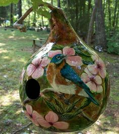Handpainted Birdhouse Gourd Bluebird with pink flowers Hand Painted Gourds, Gourds Birdhouse, Gourd Art, Stick Figures, Painting Patterns, Diy Painting, Blue Bird, Bird Houses, Painted Rocks