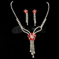Noble red Rhinestone Necklace Set
