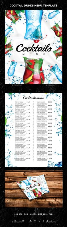 Cocktail Drinks Menu Menu, Drink menu and Food menu - drinks menu template