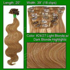 """#24/27 Light Blonde w Dark Blonde Highlights - 20"""" Body Wave"""