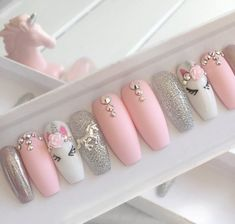 Nails pink Pink unicorn press on false nails stiletto nails short coffin Fake nails Acrylic nails gel nails holographic short nails Gorgeous Nails, Pretty Nails, Amazing Nails, Fabulous Nails, Elegant Touch Nails, Super Nails, Nagel Gel, Holographic Nails, Press On Nails