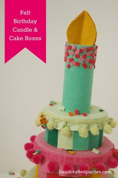 Light up your DIY Felt Birthday Cake with a Candle Impressions flameless tea light. Cute!
