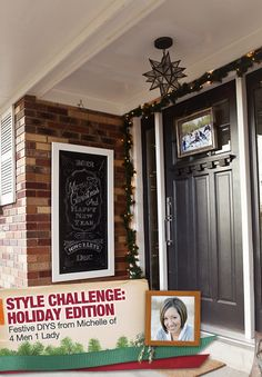 A Holiday Front Door With Simple DIY Projects from Michelle Hinckley of 4Men 1Lady